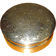 "Large Sterling Silver Pillbox with Monogram ""MFC"""