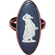 Sterling Silver & Blue Wedgwood Cameo Ring with Box