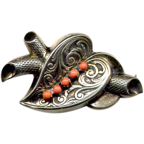 Sterling Silver Heart Pin with Coral Stones