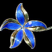 Norway Sterling & Blue Enamel Flower Pin
