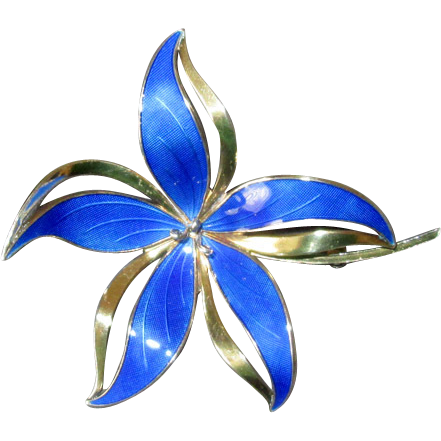 Norway Sterling & Blue Enamel Flower Pin