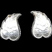 Norway Sterling & White Enamel Leaf Earrings
