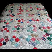 Vintage Multi-Colored 1950's Patchwork Quilt