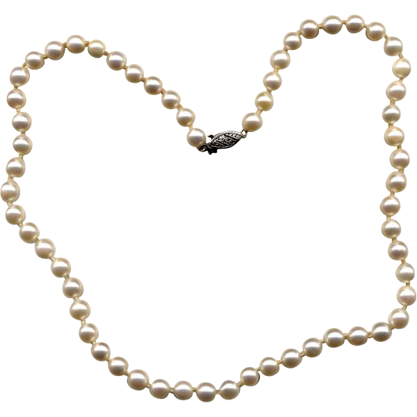"16"" Strand of Cultured Pearls with 10K Gold Clasp"