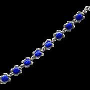 Denmark Sterling Meka Blue Enamel Turtle Bracelet