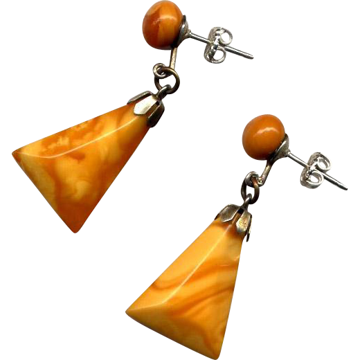 Sterling Silver and Butterscotch Amber Drop Earrings