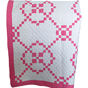 Vintage Patchwork Pink and White Quilt
