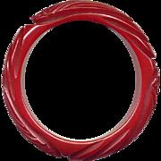 Vintage Carved Chunky Red Bakelite Bangle Bracelet