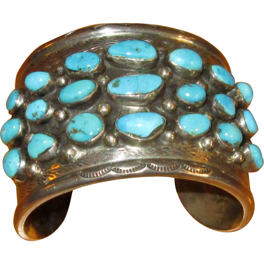 Native American Cuff Bracelet with Turquoise Stones