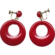 Chunky Red Vintage Bakelite Hoop Earrings