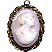 10K Coral Cameo Pin/Pendant with Seed Pearls