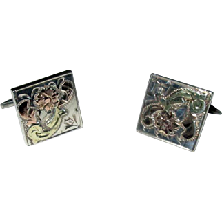 Mexican Engraved Gold on Sterling Cufflinks