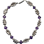Sterling Silver and Amethyst Bead Necklace