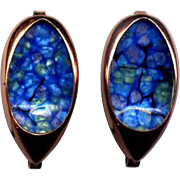 Matisse Renoir Copper and Blue Enamel Clip Earrings