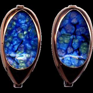 Matisse Renoir Copper and Blue Enamel Clip Earrings