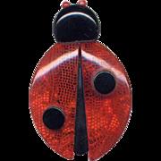 Red & Black Lea Stein Plastic Ladybug Pin