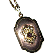 "Rose Gold-Filled Locket with Paste Stones and 26"" Chain"