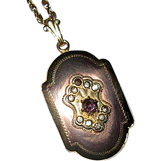 """Rose Gold-Filled Locket with Paste Stones and 26"""" Chain"""