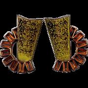 Matisse Copper & Chartreuse Enamel Clip Earrings