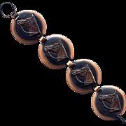 Vintage Copper Link Bracelet with Horse Heads