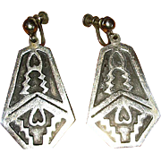 Mexican Sterling Drop Earrings with Aztec Design