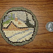 Tiny Hooked Rug with Winter Scene