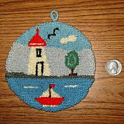 Tiny Hooked Wall Hanging Rug with Lighthouse