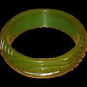 Vintage Carved Green Bakelite Bangle Bracelet