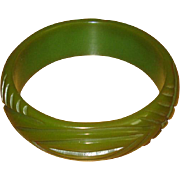 Vintage Carved Green Bakelite Bangle Bracelet