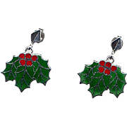 Beau Sterling Red & Green Christmas Holly Earrings