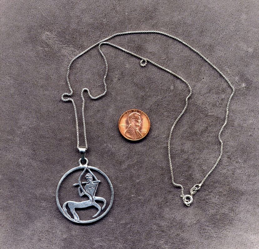 Mexican Sterling Zodiac Sagittarius Pendant with Box Chain
