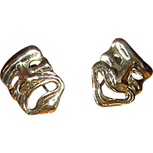 Sterling Silver Screw-Back Earrings with Comedy and Tragedy Masks