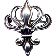 Vintage Sterling Silver Fleur de Lis Watch Fob Pin