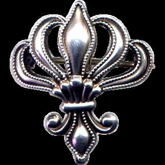 Vintage Sterling Silver Fleur de Lis Watch Fob Pin