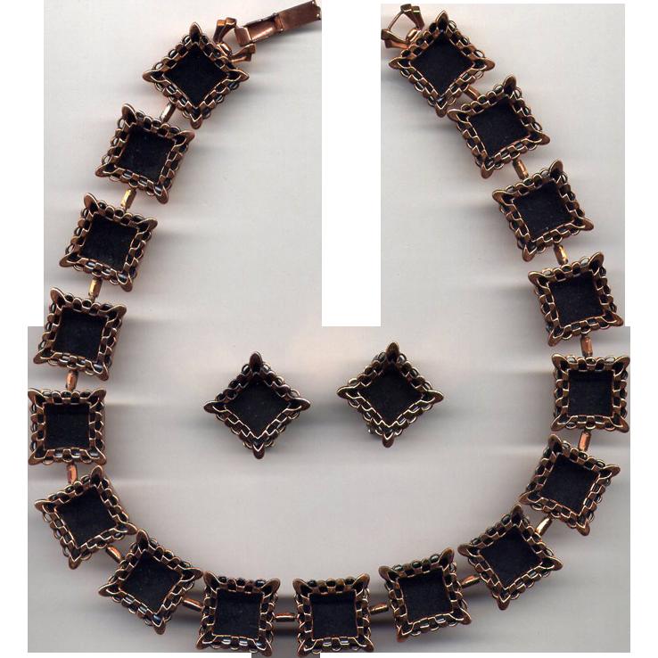 "Modernist Copper Necklace & Earrings Marked ""Renoir"""