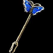 Norway Sterling & Blue Enamel Butterfly Stickpin