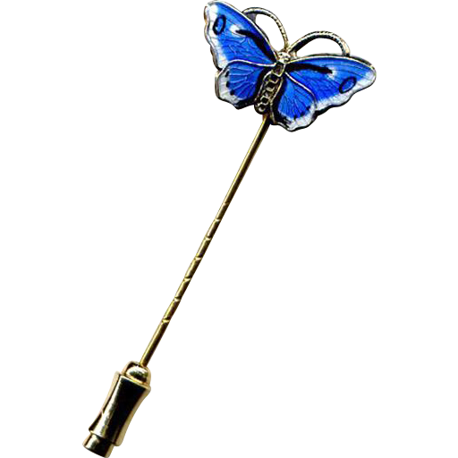 Norway Sterling & Blue Enamel Butterfly Stickpin