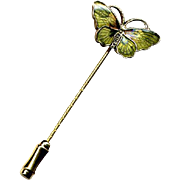 Norway Sterling & Green Enamel Butterfly Stickpin