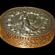 800 Silver Italian Pillbox with Cherub and Roses