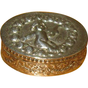 800 Silver Italian Pillbox with Cherub and Roses