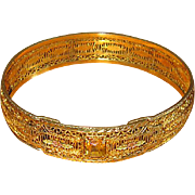 Art Deco Gold-Plated Bangle with Yellow Crystal