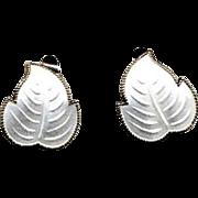 Norway Sterling & White Enamel Leaf Clip Earrings