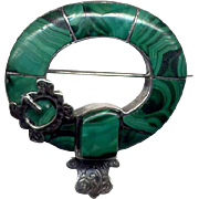 Vintage Silver and Malachite Pebble Pin with Buckle