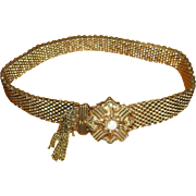 Victorian Gold-Filled Mesh Slide Bracelet with Small Opal