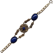 Fancy Brass Costume Bracelet with Blue Stones