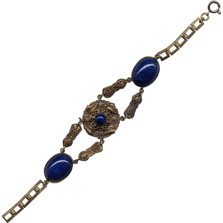 Fancy Brass Costume Bracelet with Blue Stones