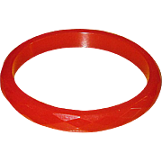 Vintage Faceted Red Bakelite Bangle Bracelet