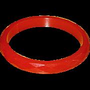 Vintage Faceted Red Bakelite Bangle Bracelet