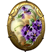 Vintage Hand-Painted Ceramic Pin with Violets