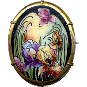 Vintage Hand-Painted Ceramic Brooch with Irises